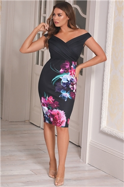 Sistaglam loves Jessica Wright Deanne Black floral bodycon Dress
