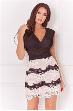 Jessica Wright Edith Monochrome Crochet Mixed Lace Short Skirt