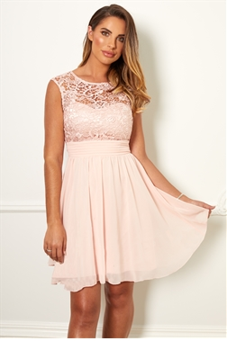 Sistaglam Special Edition Jessica Rose Orianna pink lace midi dress