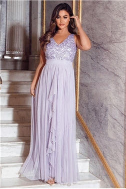 Sistaglam Yasmin New Lilac Sequin V-Neck Detailed Top Tiered Bridesmaid Dress