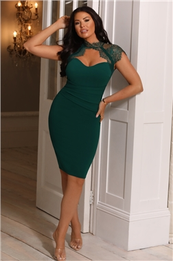 SISTAGLAM LOVES JESSICA WRIGHT LOTTIE EMERALD GREEN LACE NECK DRESS