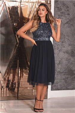 Sistaglam Leilani Navy Midi Embellished Dress