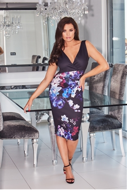 Jessica Wright Marion V-Neck Floral Bodycon Dress