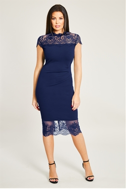 Jessica Wright Madelyn navy panel Lace Trim Dress With eyelash hem