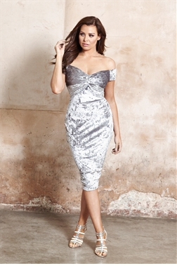 Jessica Wright Roberta Silver Velvet Knot Detail Bardot Bodycon Dress