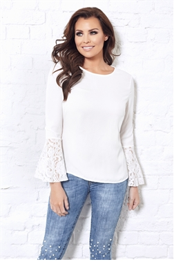 Jessica Wright Leni Cream Frill Lace Sleeve Blouse