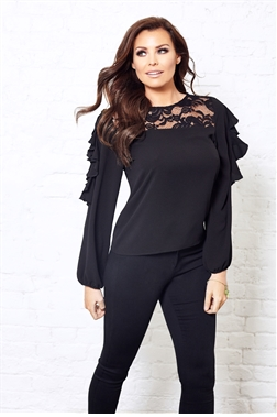 Jessica Wright Elettra Lace Blouse With Frilled Sleeves
