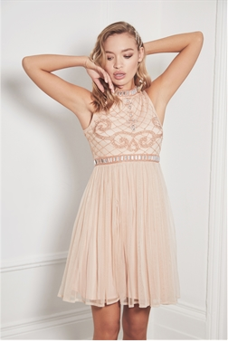 Sistaglam Debbianna nude embroided high neck top and a midi styled dress