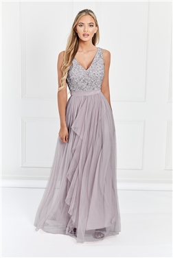Sistaglam Yasmin light purple Sequin v neck Detailed top Tiered Bridesmaid Dress