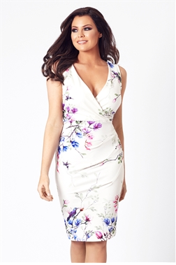 Jessica Wright Connie V-neck Floral Multicolour Bodycon Dress