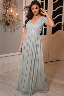 Sistaglam Lillis Sage Green Cap Sleeved Embellished Lace Maxi Dress