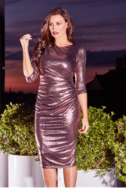 Jessica Wright Limited Edition Paulie Rose Gold Metallic Midi Ruched Bodycon Dress