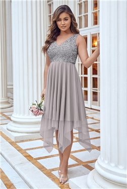 MELLI SEQUIN TOP MIDI GREY DRESS