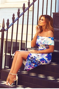 Jessica Wright Adiya Floral Print Bardot Wrap Bodycon Dress