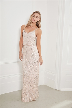 Sistaglam Miucha pink blouson all over beaded maxi dress
