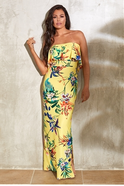 Sistaglam Loves Jessica Wright Drewe multi bandeau strapless maxi floral print dress with top frill