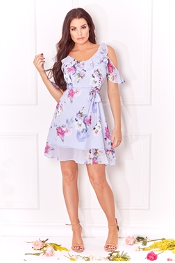 Jessica Wright Isadora multi v neck cold shoulder frill floral dress