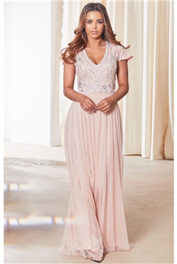 Sistaglam Lillis pink / blush petite cap sleeve embroidered maxi dress