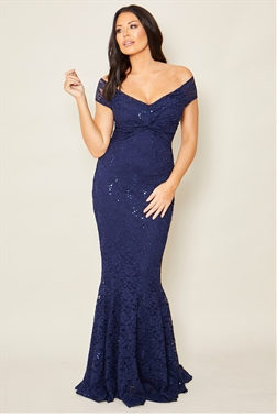 Sistaglam loves Jessica Wright Mariny navy bardot maxi sequin lace with knot detail