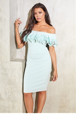 Sistaglam Loves Jessica Wright Dixey Mint Green lace overplayer bardot bodycon with ruched stomach dress