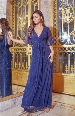 SISTAGLAM DELILAH NAVY EMBELLISHED SHORT SLEEVE WRAP MAXI DRESS
