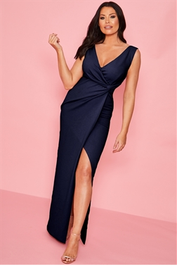 Sistaglam loves Jessica Wright Chrome navy v neck front knot maxi dress