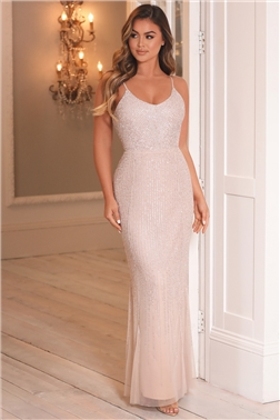Sistaglam Monika blush waterfall sequin maxi dress
