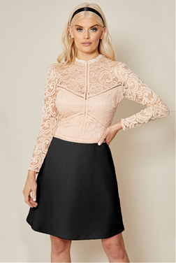 Sistaglam Deela blush lace high neck with long sleeve mini dress