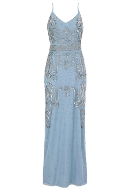 Sistaglam Flory blue embroidered maxi dress