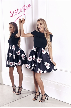 Sistaglam Fabian Black Bardot Skater Dress