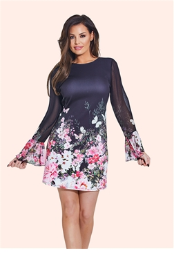 Jessica Wright Multicolour Elva Floral Long Sleeve Shift Dress