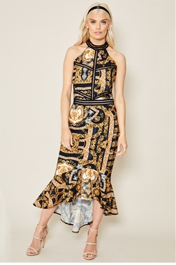 Sistaglam Aurorie multi print halter neck midi frilled hem dress