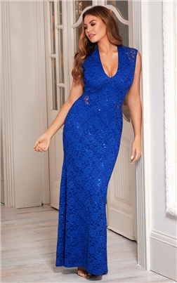 Sistaglam Loves Jessica Wright Becky Blue Lace Dress