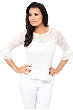 Jessica Wright White Ola Lace Sleeve Top