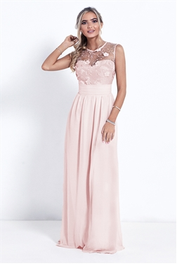 Sistaglam Elena Nude High Neck Embellished Bridesmaid Dress