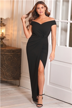 SISTAGLAM LOVES JESSICA WRIGHT OCTY PETITE BLACK OFF THE SHOULDER DRESS