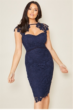 Sistaglam Loves Jessica Wright Mazzie Petite Navy lace sweetheart bodycon dress