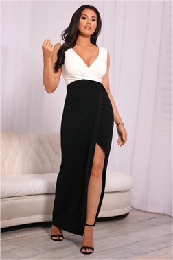 Sistaglam loves Jessica Wright Chrome Petite Monochrome v neck front knot maxi dress