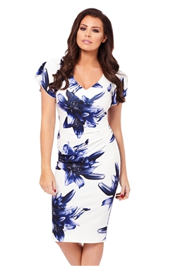 Jessica Wright Zariah Floral Print Bardot Bodycon Dress