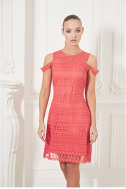Sistaglam Laurien red/coral lace  mini dress