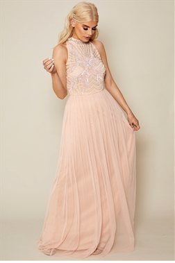 Sistaglam Hailty pink embroidered chiffon skirt maxi dress