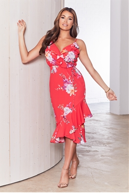 Sistaglam loves Jessica Wright Pei multi floral dress with frilled hem