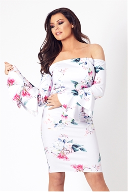 Jessica Wright Emsie Frill Sleeve Floral Bardot Bodycon Dress