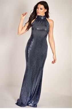 Sistaglam Loves Jessica Wright Blu navy collar halter neck all over sequin maxi dress