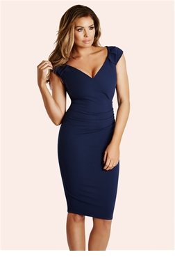 Jessica Wright Cassidy Navy Ruched Bodycon Dress
