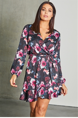 535a63f6733a6 Lipstick Boutique Sistaglam Loves Jessica Wright Rachely multi floral print wrap  dress with frill hem
