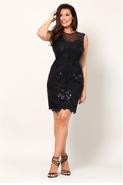 Jessica Wright Natacha Black All Over Lace Mesh High Neck Bodycon Dress