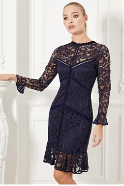 Sistaglam Deela navy lace high neck with long sleeve mini dress