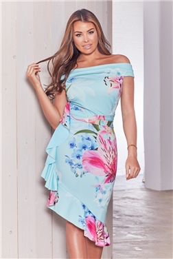 Sistaglam Loves Jessica Wright Luysa Blue Floral Print Bardot Frill Midi Dress