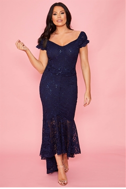 Sistaglam Loves Jessica wright Orla navy all over lace frilled hem maxi dress